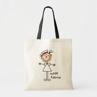 Simple Stick Figure Nurse Tshirts and Gifts Budget Tote Bag