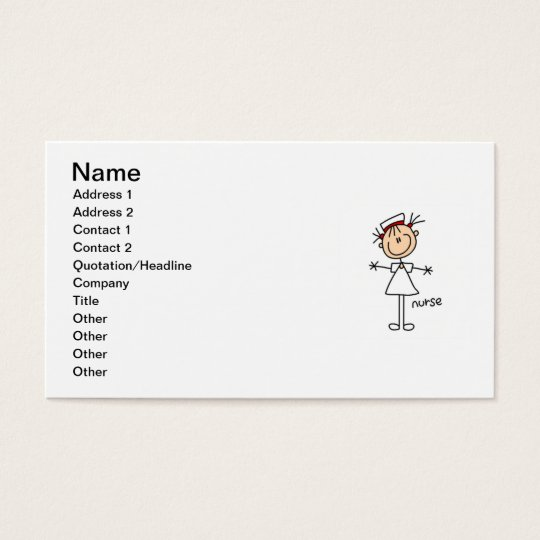 Simple Stick Figure Nurse Tshirts and Gifts Business Card