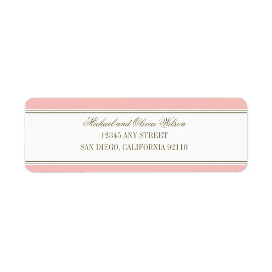 Simple Stripe Blush Pink Address Label