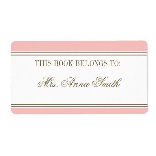 Simple Stripe Blush Pink Bookplate