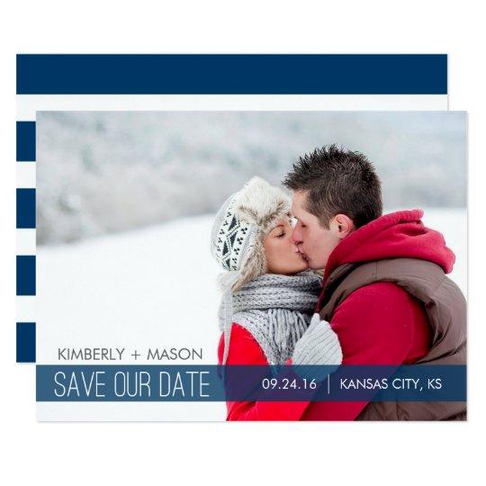Simple Stripes Wedding Save the Date Mini Invite