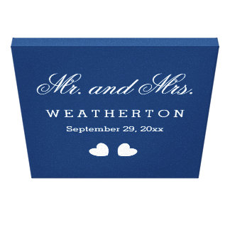 Simple Style Mr. and Mrs. Wedding Names Date A467B Stretched Canvas Print