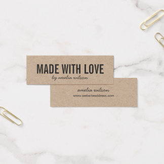 Simple Stylish Rustic Made with Love Kraft Mini Business Card