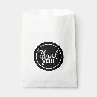 Simple Stylish Script Thank You Black White Favour Bag