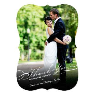"Simple Stylish Thank You Script Wedding Photo Card 5"" X 7"" Invitation Card"
