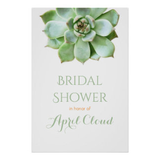 Simple Succulent Wedding or Bridal Shower Sign Poster