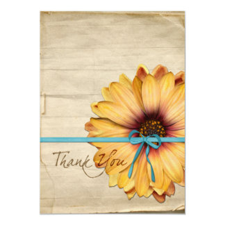 Simple Sunflower Natural Organic Thank You Custom Card