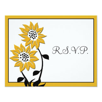 Simple Sunflowers RSVP Card 11 Cm X 14 Cm Invitation Card
