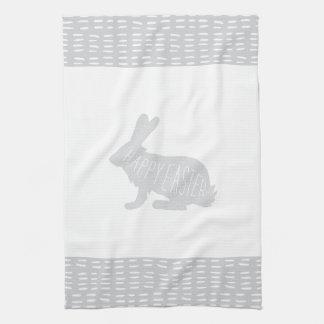 Simple, Sweet Gray Easter Bunny Rabbit Kitchen Tea Towel