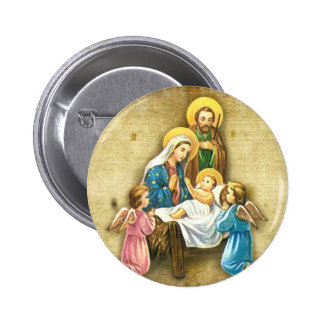 Simple Sweet Nativity Image Gift of Love Christmas 6 Cm Round Badge