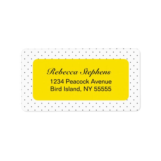 Simple Sweet Polka Dot- Yellow and Black Label