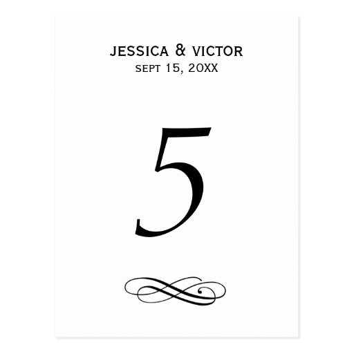 Simple swirl table number card wedding reception postcards