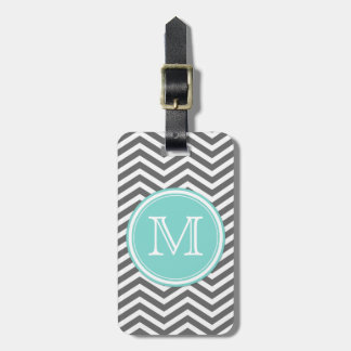 Simple Teal Blue and White Monogram with Chevron Travel Bag Tags
