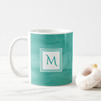 Simple Teal Green Subtle Marble Modern Monogram Coffee Mug