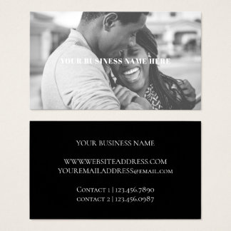 Simple Text Overlay Black and White Business Card