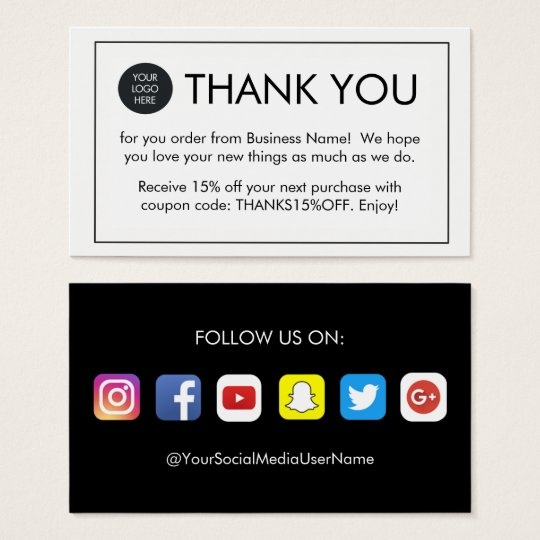 simple thank you for your order business cards. Black Bedroom Furniture Sets. Home Design Ideas