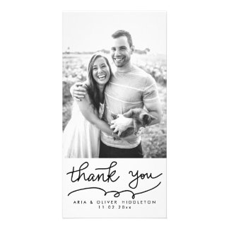 Simple Thank You Typography Wedding Customized Photo Card