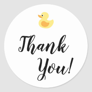 Simple Thank You Typography with Rubber Duck Classic Round Sticker