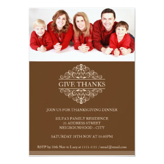 Simple Thanksgiving Dinner Family Photo Invitation