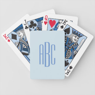 Simple Three Letter Blue Monogram Bicycle Playing Cards