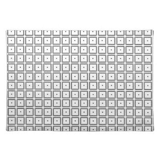 Simple Trendy Black and White Square Dot Pattern Placemat