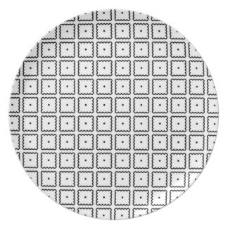 Simple Trendy Black and White Square Dot Pattern Plate