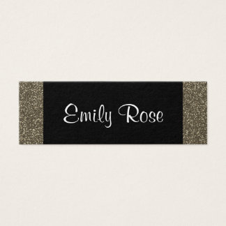 Simple Trendy Modern Black Gold Glitter Mini Business Card