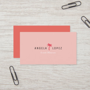 Pink palm tree business cards business card printing zazzle simple trendy pink red palm tree business card colourmoves