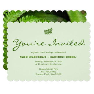 Simple Tropical Green Fern Wedding Card