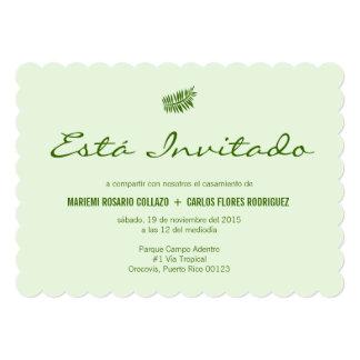 Simple Tropical Green Fern Wedding Spanish 13 Cm X 18 Cm Invitation Card