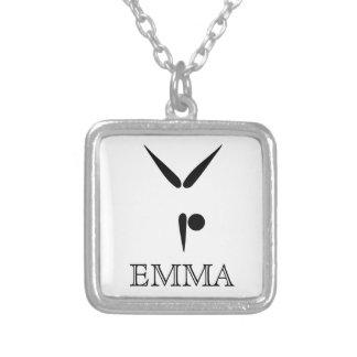 Simple Tumbler | Gymnast Gymnastics Symbol Silver Plated Necklace