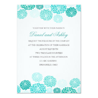 Simple Turquoise Garden Wedding Card