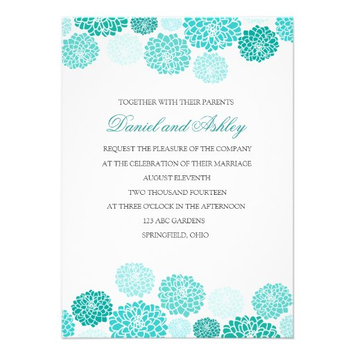 Simple Turquoise Garden Wedding Personalized Invitations