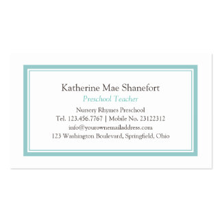 Simple Turquoise Professional Minimalist Modern Pack Of Standard Business Cards