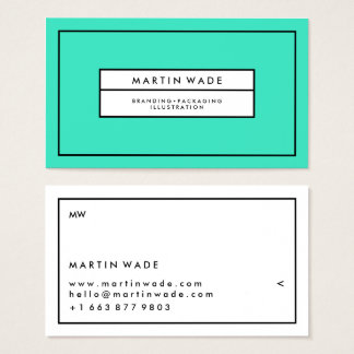 Simple turquoise white minimalist modern striped business card