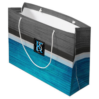 Simple Two Tone Blue and Grey Initials Monogram Large Gift Bag
