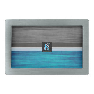 Simple Two Tone Blue and Grey Initials Monogram Rectangular Belt Buckle