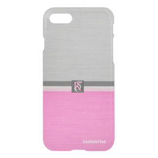Simple Two Tone Pink and Grey Initials Monogram iPhone 8/7 Case