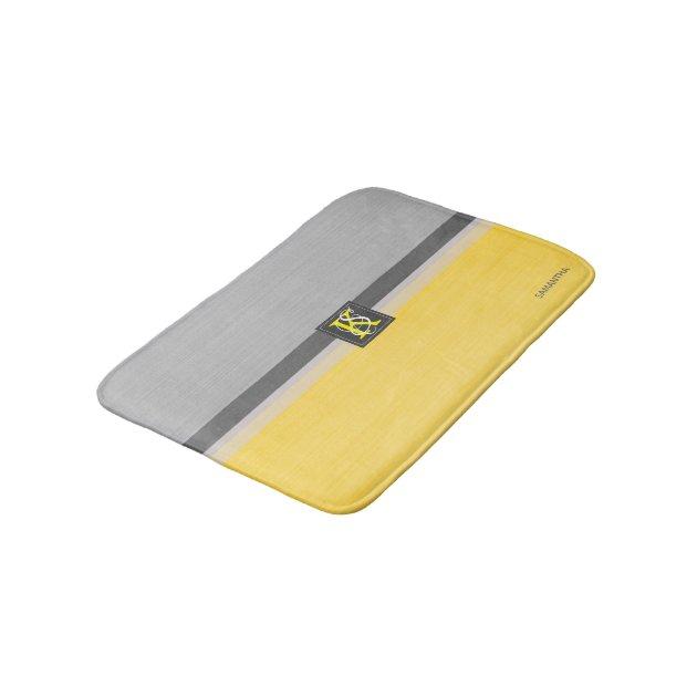 Simple Two Tone Yellow And Grey Initials Monogram Bath Mat Zazzle Com Au