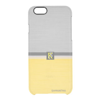 Simple Two Tone Yellow and Grey Initials Monogram Clear iPhone 6/6S Case