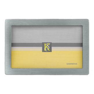 Simple Two Tone Yellow and Grey Initials Monogram Rectangular Belt Buckles
