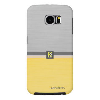 Simple Two Tone Yellow and Grey Initials Monogram Samsung Galaxy S6 Cases