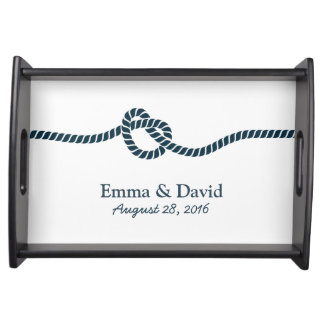 Simple Tying the Knot Nautical Wedding Serving Tray