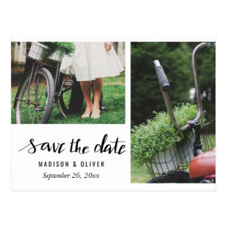 Simple Typography Save The Date Two Photo Postcard