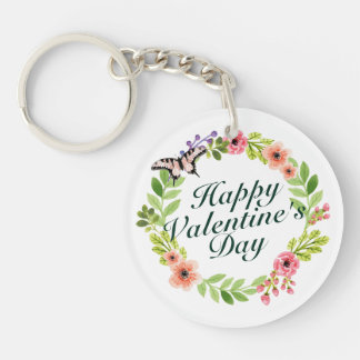 Simple Valentine's Day Floral Wreath Keychain
