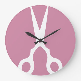 Simple Vector Scissors (Pick Your Own Color) Large Clock