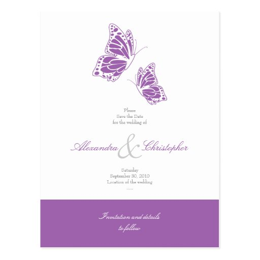 Simple Violet Butterflies Save The Date Wedding Postcards
