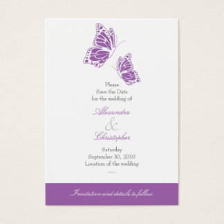 Simple Violet Butterfly Save The Date Wedding Mini