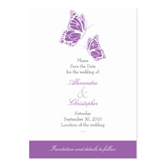Simple Violet Butterfly Save The Date Wedding Mini Pack Of Chubby Business Cards