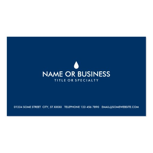 simple water drop business card template